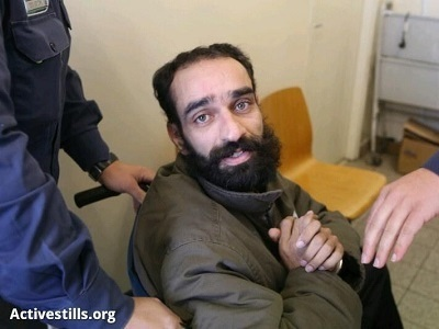 Samer Issawi u soudního stání v Jeruzalémě. (Foto: Activestills.org)