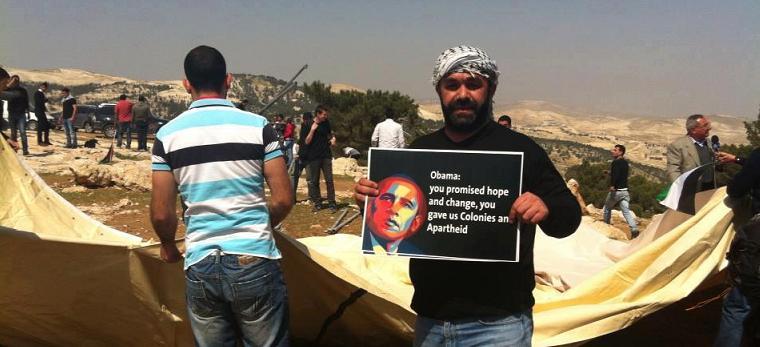 Obamo, slíbil jste nám naději a změnu, dal jste nám osady a apartheid (foto viz facebook)