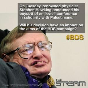 Ovlivní Hawkingovo rozhodnutí strategii kampaně BDS? (Zdroj: Al Jazeera, facebook)